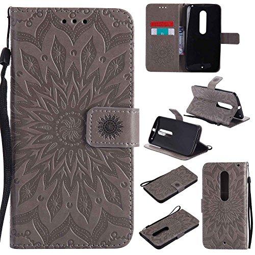 pinlu PU Leder Tasche Etui Schutzhülle für Moto X Style (5,7 Zoll) Lederhülle Schale Flip Cover Tasche mit Standfunktion Sonnenblume Muster Hülle (Grau)