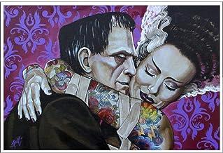 Illuminart Lighted Art Canvas Classic Horror Print Dracula Bride of Frankenstein