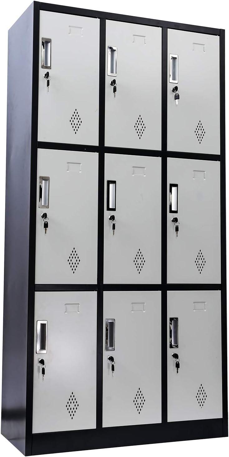 IKAYHOME Office LockerCabinet Lockable | 9-Door Floor Cabinet Storage with 9 Compartments | Freestanding Metal File Cabinet | Steel 35.4