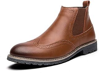 أحذية رجالية عارضة أحذية الرجال في فصل الشتاء الأح Men's shoes Chelsea Boots for Men High Top Inner Zipper Burnish Toe Win...