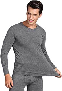 Aiweijia Men's Thermal Underwear Sets Long Johns Round Neck Lycra Warm Soft Breathable Elastic Winter Pullover Man Long Sleeve T Shirt Tops and Long Bottoms Trousers Set Ski Wear