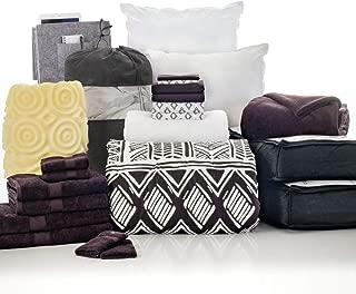 OCM 24 Piece Complete Campus Pak Leilani Black Twin XL College Dorm Bedding and Bath Set