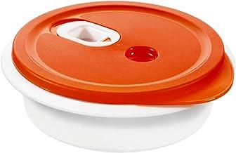 Rotho, Micro Clever, Magnetronschalen 1l met deksel en ventiel, Kunststof (PP) BPA-vrij, rood/wit, 1l (20,0 x 20,0 x 6,5 cm)