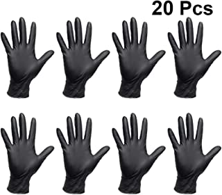 Solustre 20Pcs Disposable Gloves Nitrile Tattoo Artists Gloves Medical Exam Gloves Powder Free Protective Gloves for Cleaning Working Washing L Black