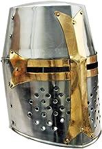 SZCO Supplies 14 inch decoratieve vat messing helm Crusader helm