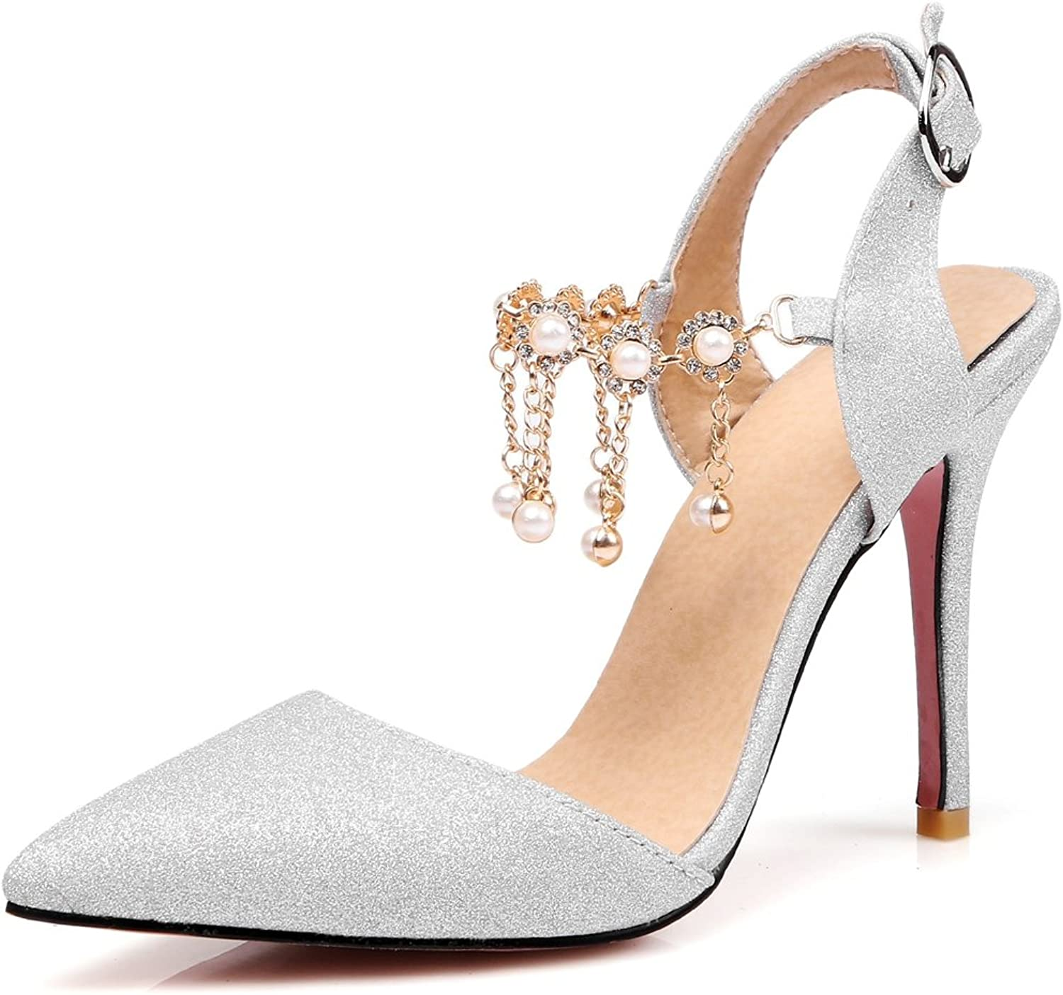Kaloosh Women's Beautiful Pointed Toe Beading Stiletto High Heel Buckle Strap Party Drass Sandals