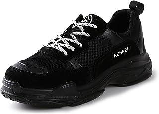 HWF レディースシューズ 女性のパパレトロスポーツカップルの靴ストリートビートカジュアルシューズランニングレディースシューズ ( 色 : ブラック , サイズ さいず : 38 )