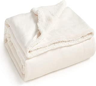 Bedsure Sherpa Fleece Blanket Queen Size Off White Cream Plush Blanket Fuzzy Soft Blanket Microfiber