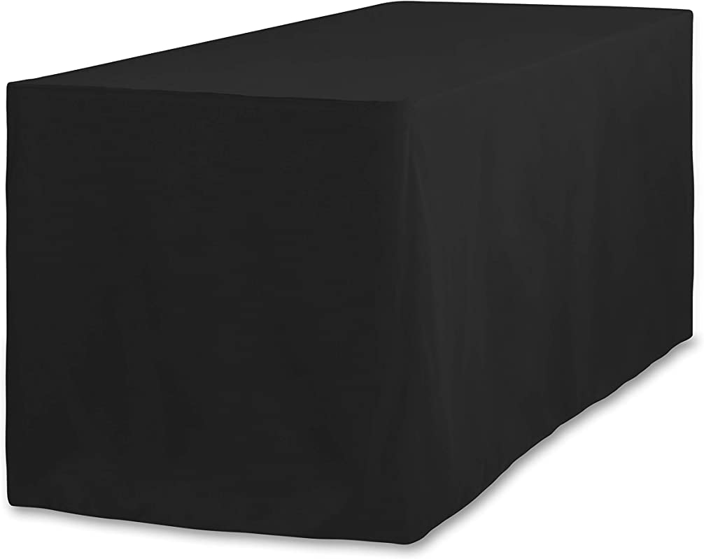 LinenTablecloth 4 Ft Fitted Polyester Tablecloth Black