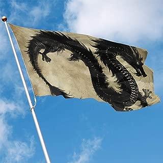 YUANSHAN Home Garden Flag Black Dragon Polyester Flag Indoor/Outdoor Wall Banners Decorative Flag 3' X 5'