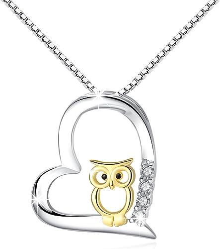 Collana donna pendenti donna gioielli in argento Collana gufo pendente a cuore Per Donna Bella/Mamma/Ragazza/Fidanzat...