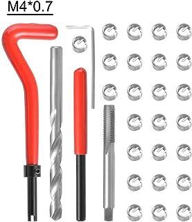 Ajcoflt Kit de inserto de reparo de rosca métrica de 30 unidades M3 M4 M7 M9 M11 Helicoil Car Pro Coil Tool M4 * 0,7