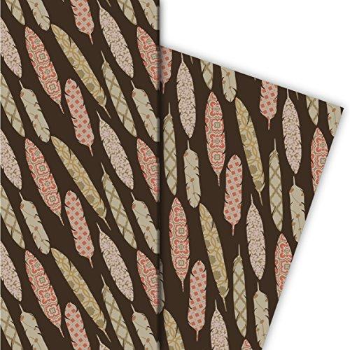 Kartenkaufrausch Edles Designer Geschenkpapier Set 4 Bogen, Dekorpapier, Musterpapier zum Einpacken mit gemusterten Federn, braun, für edel Geschenk Verpackung, Designpapier 32 x 48cm