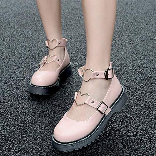 PINGXIANNV Lolita Schuhe Sweet Lolita Shoes Niedriger Absatz Herzform Schwarz Weiß Pink Flache Plateau Jk Uniformschuhe