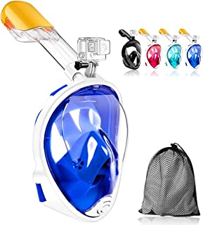 JHuuu 180°Full Face Snorkel Mask, Free Breathing Design with Detachable Camera Mount Anti-Fogging Anti-Leak with Adjustabl...