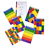 60 Bulk Pack Colorful Building Block Bricks Mini Notepads Spiral Notebooks Kids Carnival Birthday Theme Party Favor Supplies Decoration for Teens Girls Boys Teacher Children Classroom Rewards