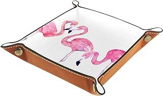 Boîte de rangement de bureau en cuir PU pliable Boîte de rangement en dés pour jeux de table Beau flamant rose