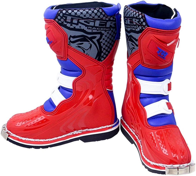 XSWE Motocross-Stiefel, Motorradschuhe Racing Stylist Ankle Stiefel, Wasserdichte und Rutschfeste Track-Stiefel für Straenrennen Radfahren