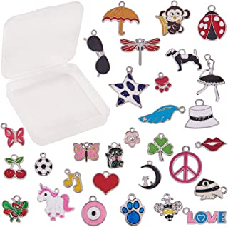 SUNNYCLUE 1 Box 30pcs Assorted Enamel Charms Silver Plated Alloy Unicorn Animals Heart Flower Jewelry Charm Pendants for DIY Jewelry Necklace Bracelet Ankle Earring Making