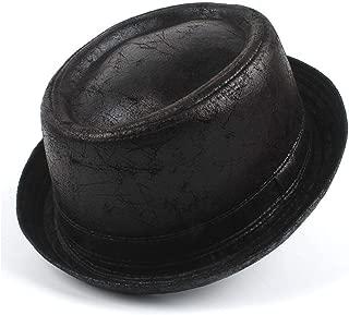 QinMei Zhou Men Pork Pie Hat Feather Fedora Hat Dad Boater Flat Top Hat For Gentleman Bowler Gambler Top Hat Szie M L