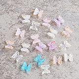 3D Resina Mariposa Glitter Nail Art Decoraciones Verano Hogar Moda Esmalte de Uñas Ornamento Manicura Calcomanías Accesorios CH1860-20pcs Color Mezclado