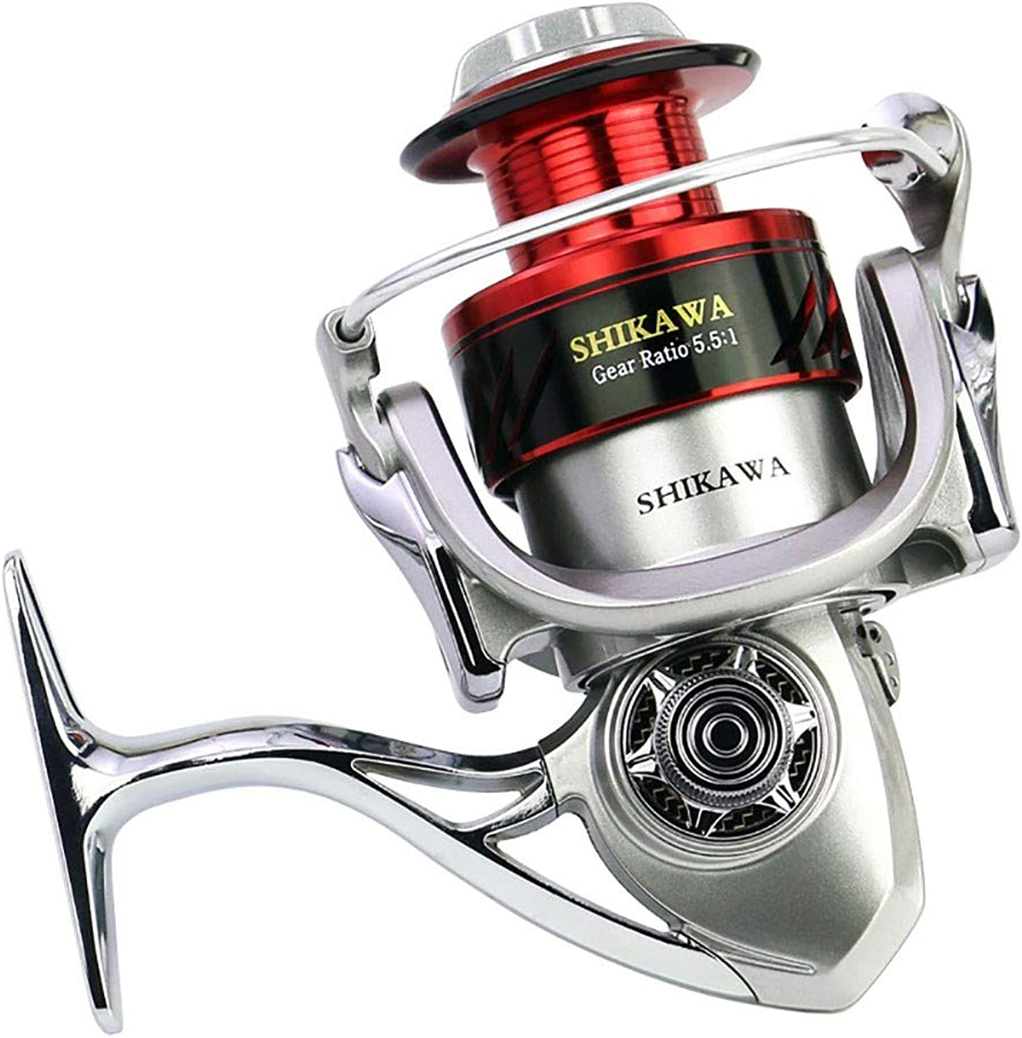 Spinning Fishing Reels,Speed Ratio 5.5 1 Metal Twocolor Wire Cup Metal Saltwater Baitcasting Reel Left Right Interchangeable CNC Rocker Arm Light and Smooth Spinning Reels