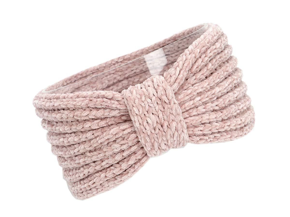 XueXian Headband Women Girls Crochet Turban Ear Warmer Head Wrap (Pink)