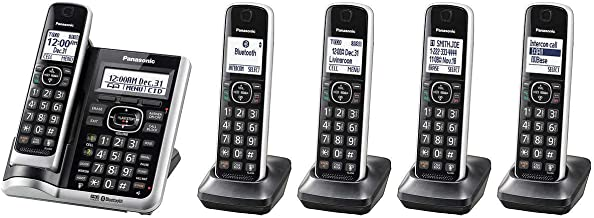 $105 » Panasonic Bluetooth Cordless Phone KX-TG7875S Link2Cell with Enhanced Noise Reduction & Digital Answering Machine - 5 Handsets (Black/Silver)