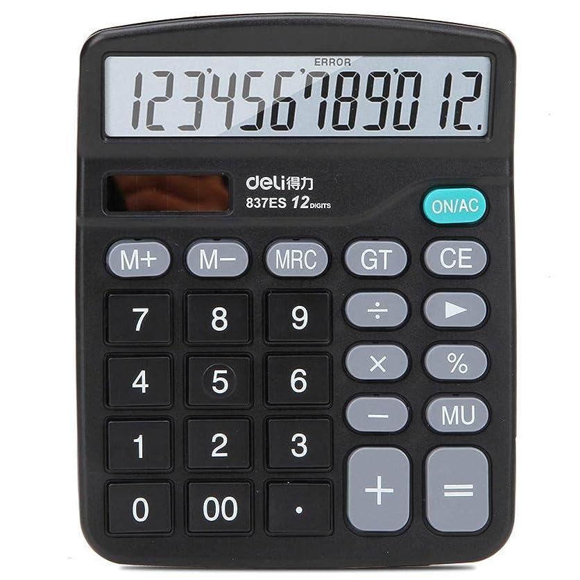 職業お茶隠Office Calculator 12 - ビット デスクトップ ユニバーサル 電卓 Deli 837ES デュアルパワー用
