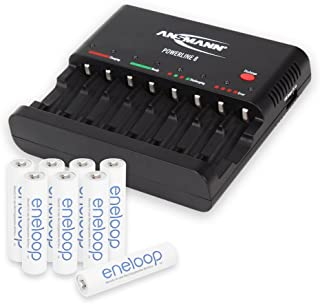 ANSMANN Individual Cell Battery Charger Powerline 8 for NiMH Rechargeable Batteries AAA & AA with USB Port for Smartphone - 8 Bay Universal recharger Plus 8-Pack eneloop Tripple A Batteries