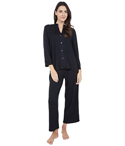 N by Natori Cozy Knit Solid w/ Piping PJ Set (Black) Women