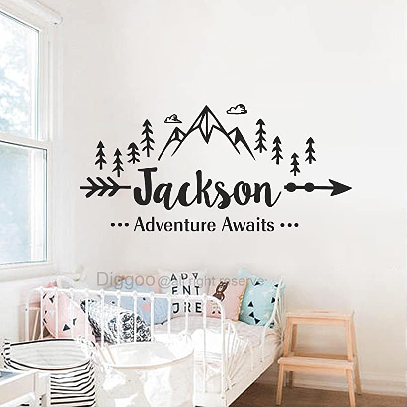 Boys Name Wall Decal Adventure Awaits Wall Decal Arrow Mountains Woodland Art Quote Tribal Travel Decor (21.5