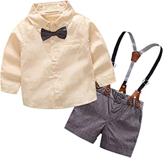 SANGTREE Baby & Little Boy Tuxedo Outfit, Plaids Shirt + Suspender Shorts - Beige - 2-3 Years