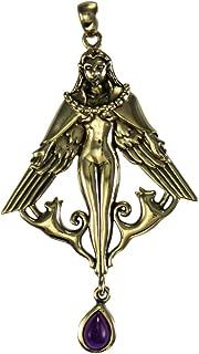 Bronze Norse Goddess Freya Pendant with Natural Amethyst Jewelry