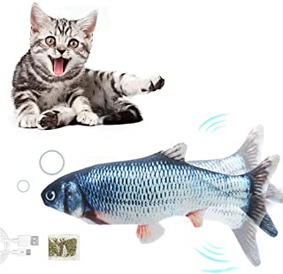 RENXIN-INC Electric Moving Fish Cat Toy, Realistic Flopping Fish, Wiggle Fish Catnip Toys, Plush Interactive Cat Toys, Mot...