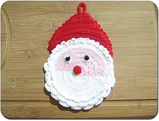 Agarradera Papá Noel para Navidad de ganchillo- Tamaño: 11.5 cm x 19 cm H - Handmade - ITALY