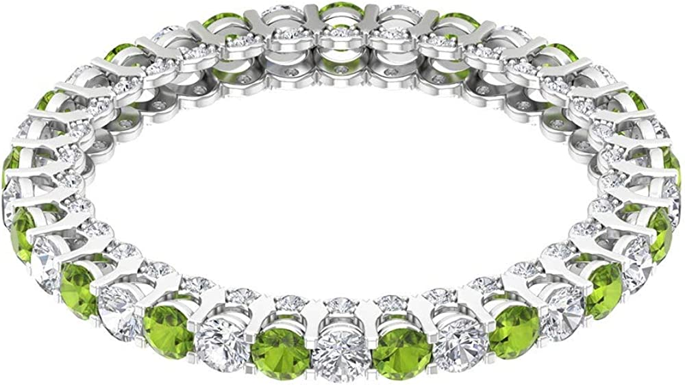 0.85 Special Campaign Ct Certified 2mm Rapid rise Peridot Eternity Ring Unique Alternating