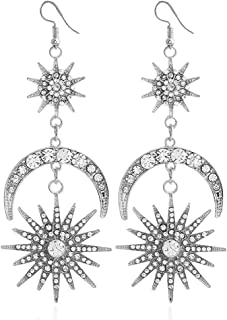 Exaggerated Luxury Sun Moon Stars Drop Earrings Rhinestone Punk Earrings for Women Jewelry Golden Boho Vintage Statement Earrings