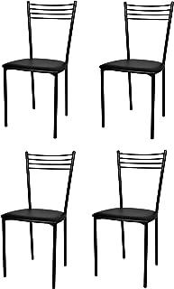 Tommychairs - Set 4 sillas Elena para Cocina, Comedor, Bar y Restaurante, Estructura en Acero Pintado Negro y Asiento tapizado en Polipiel Color Negro