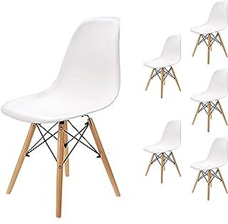EGOONM Lot de 6 chaises Style Nordique Bois Chaise de Salle à Manger,Chaise de Bureau (Blanc-6)