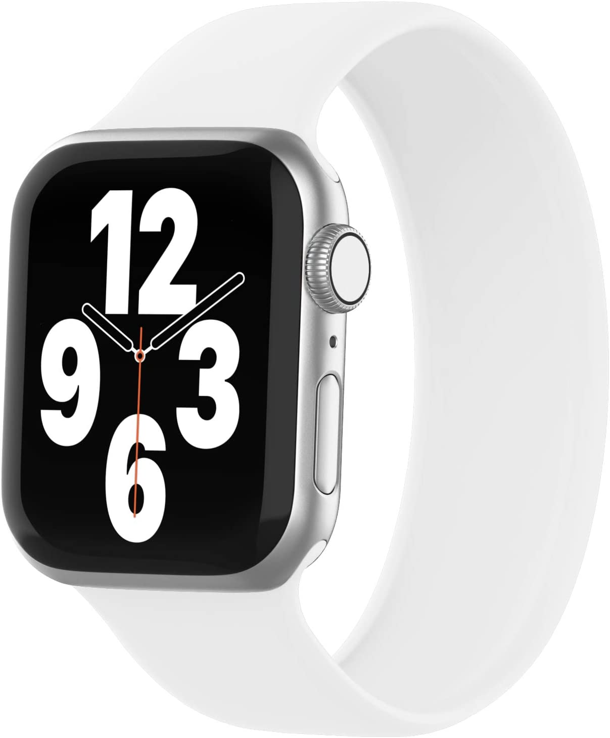 WASPO Solo Loop Band Compatible with Apple Watch Band 38mm 40mm 42mm 44mm, Sport Elastic Silicone Bands with No Clasps or Buckles Compatible for iWatch Series 6/SE/5/4/3/2/1(38mm/40mm-S, White)