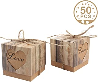 AerWo 50pcs Candy Favor Boxes Vintage Kraft Bonbonniere + 50pcs Burlap  Twine, Love Heart Imitation