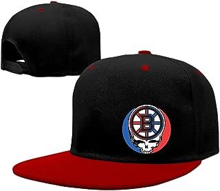 Custom Unique Personalized Skull Boston Hockey Hip Hop Caps Red