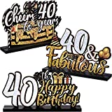 3 Happy 60th 40th Birthday Party Table Decorations, Cheer To 60 40 Years Table Centerpiece Sign Wooden Birthday Presents Congrats for Birthday Party Dinner Table Topper Favors, 7.87 x 4.72 Inch (40th)