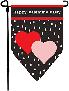 W&X Valentine's Day Flag,Valentine's Heart Garden Flag 12.5x18 Inch Double Sided Printing 2 Layer Burlap Valentine Flags for Garden Decoration