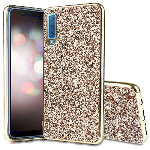 FNBK Kompatibel mit Hülle Samsung Galaxy A7 2018 Hülle Glitzer,Soft Flex Silikon Bumper Case Bling TPU Silikon Handyhülle Passgenau Mädchen Schutz Hülle Tasche Schutzhülle Galaxy A7 2018 Case,Gold
