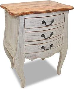 vidaXL Solid Reclaimed Wood Bedside Cabinet w/ 3 Drawers Nightstand Side Table