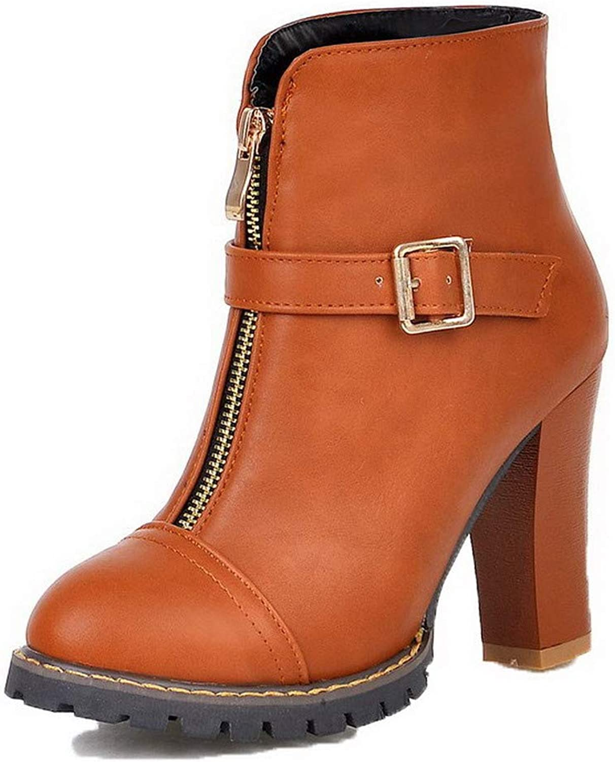 AllhqFashion Women's Pu Low-Top Solid Zipper High-Heels Boots, FBUXD124660