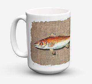 Caroline's Treasures 8736CM15 Red Fish Dishwasher Safe Microwavable Ceramic Coffee Mug 15 ounce, 15 ounce, multicolor