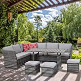 Aoxun 7 Piece Outdoor Furniture Set,PE Hand-Woven Rattan Wicker Sofa Set, Patio Sectional with Dining Table and Cushions, Gray